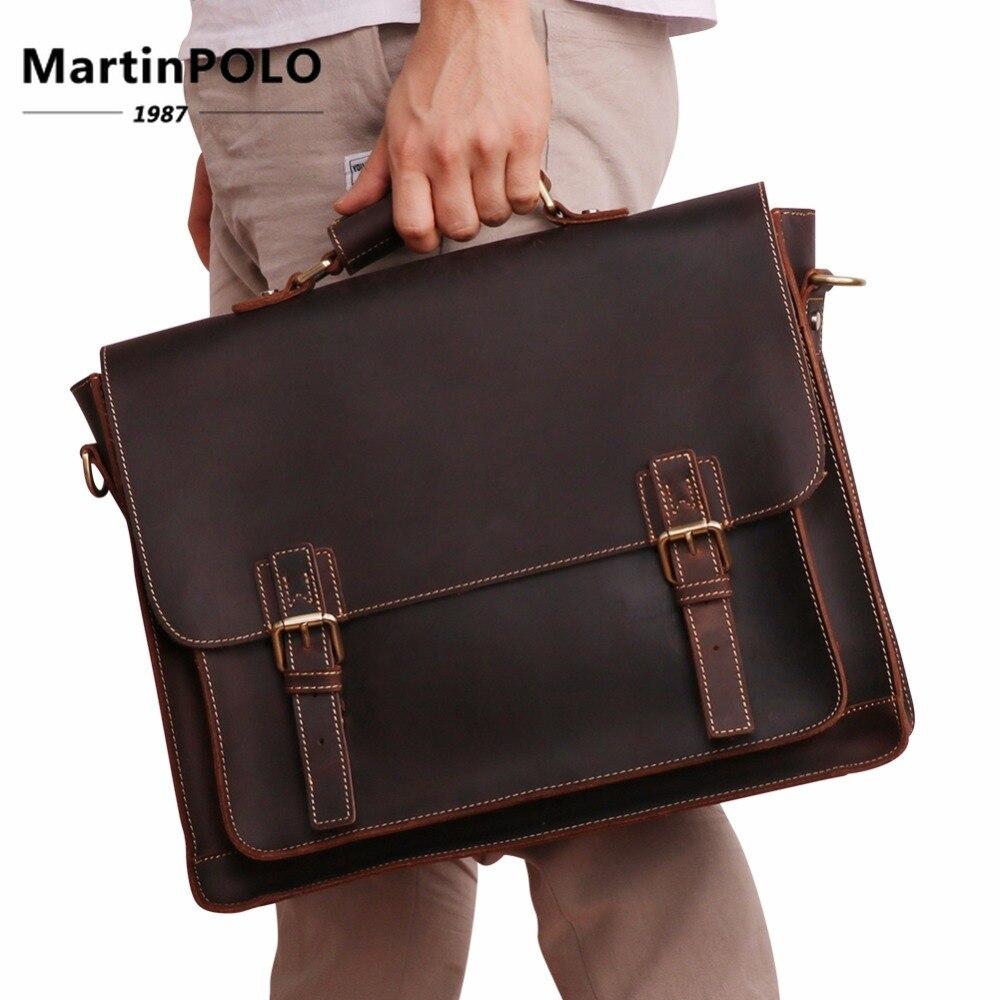 8aeff2893543 Деловая сумка винтажная Crazy Horse кожаный портфель для человека портфель  сумка из натуральной кожи сумка через