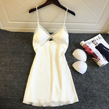 Daeyard Sexy Silk Wäsche Frauen Nachthemd Sleeveless Push Up Nacht Kleid Spitze Trim Nachthemd Nighty Nachtwäsche Hause Kleidung