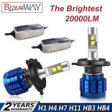 BraveWay 20000LM светодио дный лампа фары H1 H4 H7 H8 H9 H11 HB3 HB4 H7 светодио дный Canbus лампы H4 H7 9005 9006 светодио дный лампы для автомобилей лампочки