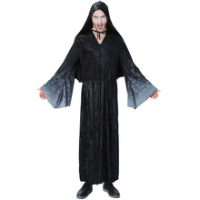 Umorden Purim Carnival Party Halloween Men Wizard Robe Gown Costumes Magician Costume Cosplay Black Hooded Outfit umorden men black azrael death costume devil demon cosplay robe gown halloween purim carnival mardi gras party outfit