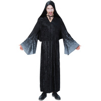 Umorden Purim Carnival Party Halloween Men Wizard Robe Gown Costumes Magician Costume Cosplay Black Hooded Outfit