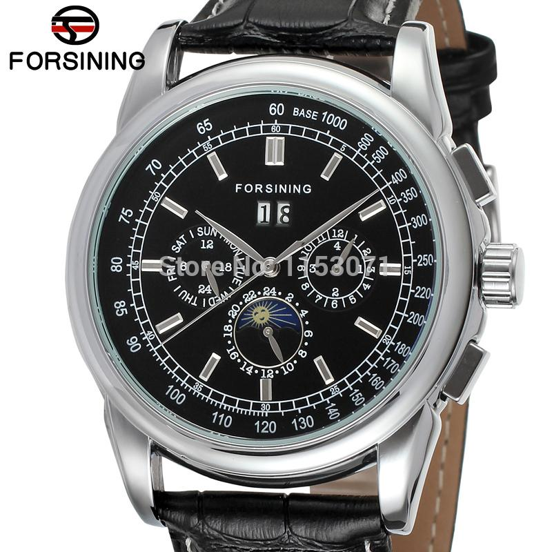 все цены на FSG319M3S1 Forsining 2015 new  Automatic men luxury watch with moon phase  black genuine leather strap free shipping gift box онлайн