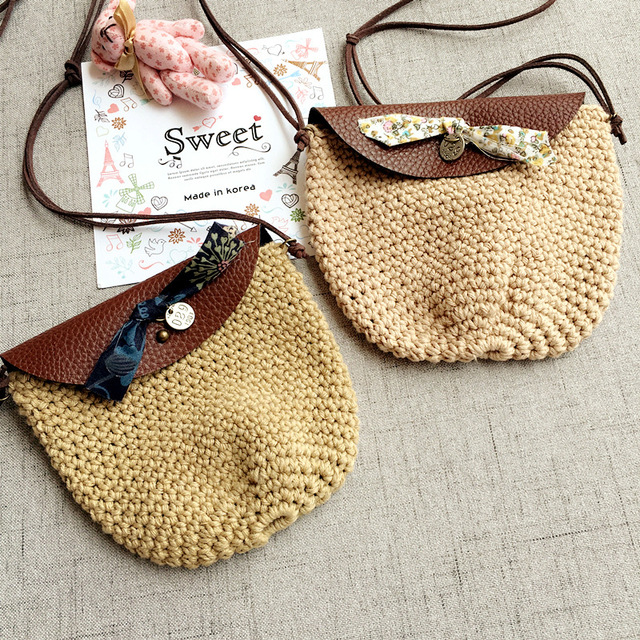 Monsisy Winter Wool Bag For Handmade Knitted Shoulder Baby Coin Purse And Handbag