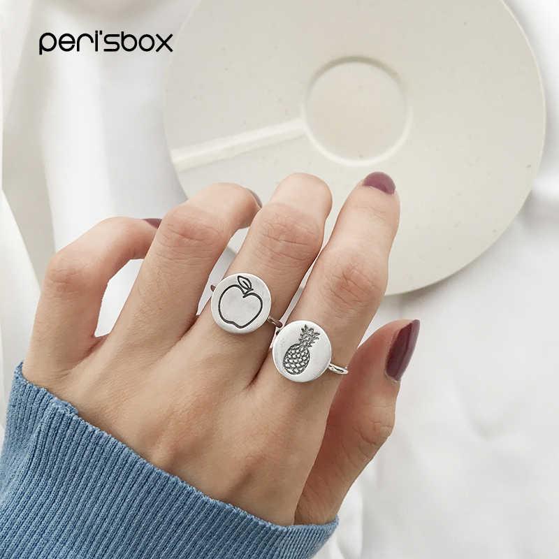 Peri'sBox น่ารัก 925 เงินสเตอร์ลิงผลไม้ประทับตราแหวนขนาดเล็กเหรียญเหรียญแหวนบุคลิกภาพแหวนปรับ