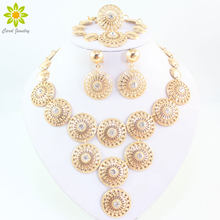 New Charms Clear Crystal Rhinestone Gold/Silver Plated Indian Wedding Bridal Jewelry Set Vintage Costume Women Jewelry Sets(China)