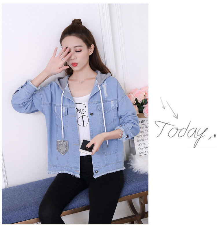 woman jacket spring 2019 New cowboy coat fashion Hooded Tops thin popular women's denim jackets Youth clothing for women 1240 47