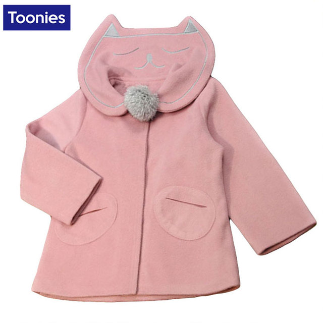 Winter Children Coat for Girl Wool Cotton Girls Jacket Long Sleeves Child Coats Lovely Cat Baby Clothes Outerwear Kids Clothing