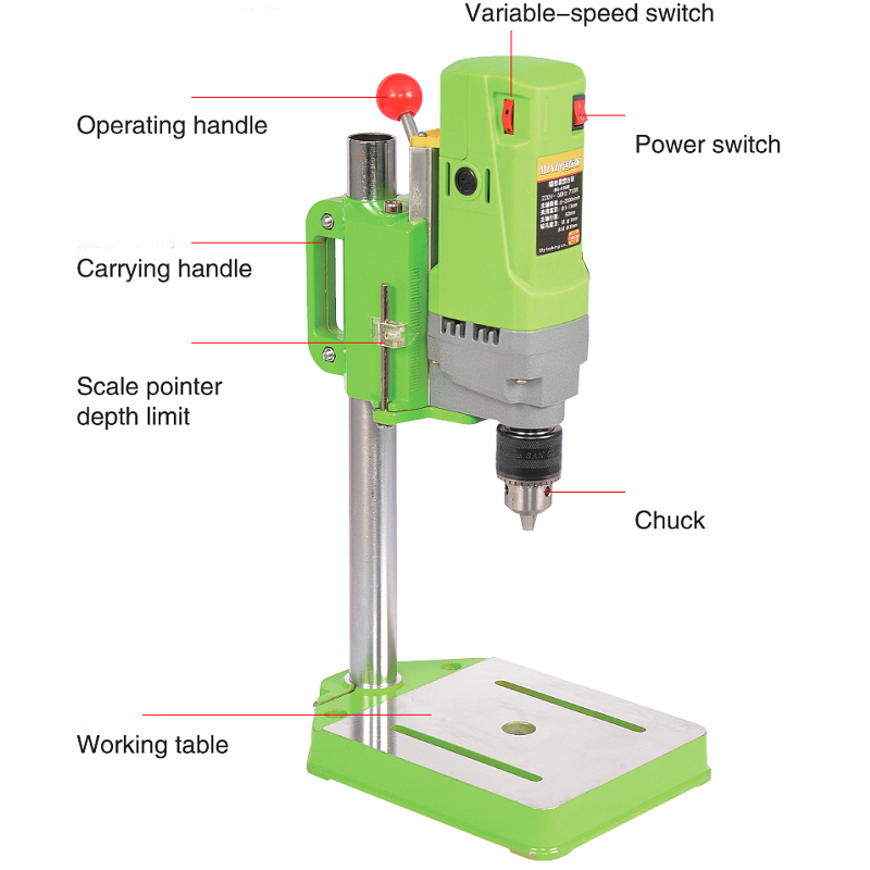 Electric bench drill 710W Mini drill Press Variable Speed 1-13mm drilling For DIY Wood Metal Electric Tools 220V
