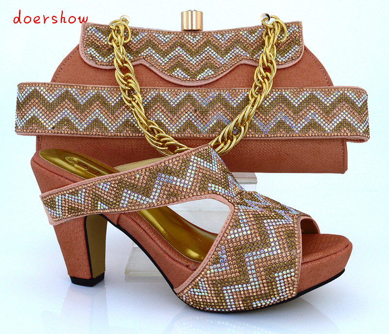 doershow Newest fashion African party shoes and bag to match beautiful peach italy shoes and bag set high heel for lady!HVB1-47 geparlys beautiful lady