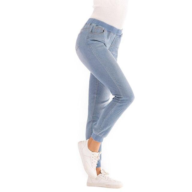 Женские повседневные эластичный пояс обтягивающие джинсы женские карманы облегающие джинсовые брюки леггинсы плюс размер