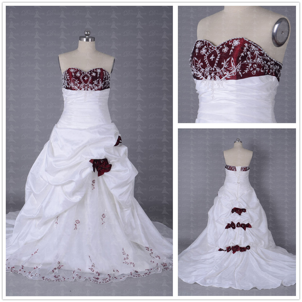 Ivory And Red Wedding Dress | Midway Media