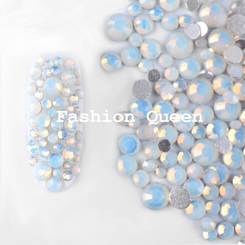 1 paket mešanica beli opal kristalni nohti art nosorogi 3d šarm - Poslikava nohtov - Fotografija 3