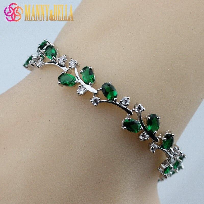 Prix pour 925 Sterling Argent Vert Créé Émeraude Bracelet de Santé De Mode Bijoux Pour Femmes Bijoux Free Box SL139
