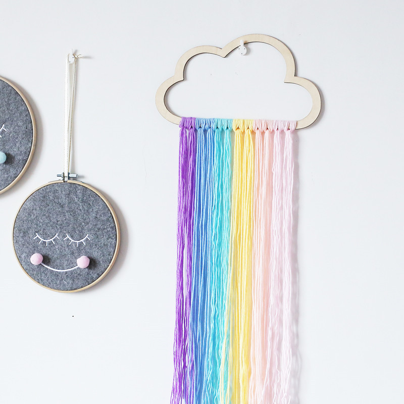 D Nordic Style Wooden Hollow Clouds With Rainbow Tassel Children's Room Wall Decoration Birthday Present Cartoon Home Decoration