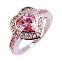 Women Fashion Rings Heart Cut Pink Topaz Jewelry 925 Silver Ring For Women Gift Size 7 8 9 10 Wholesale Free Shipping