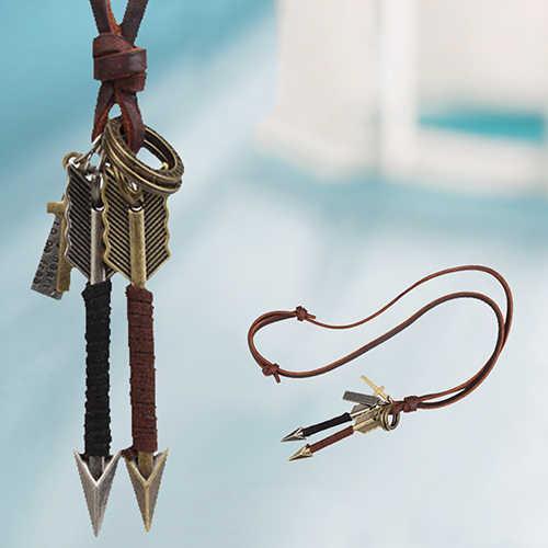 Mode mannen Legering Zilver Goud Tone Arrow Hanger Lederen Choker Charme Ketting
