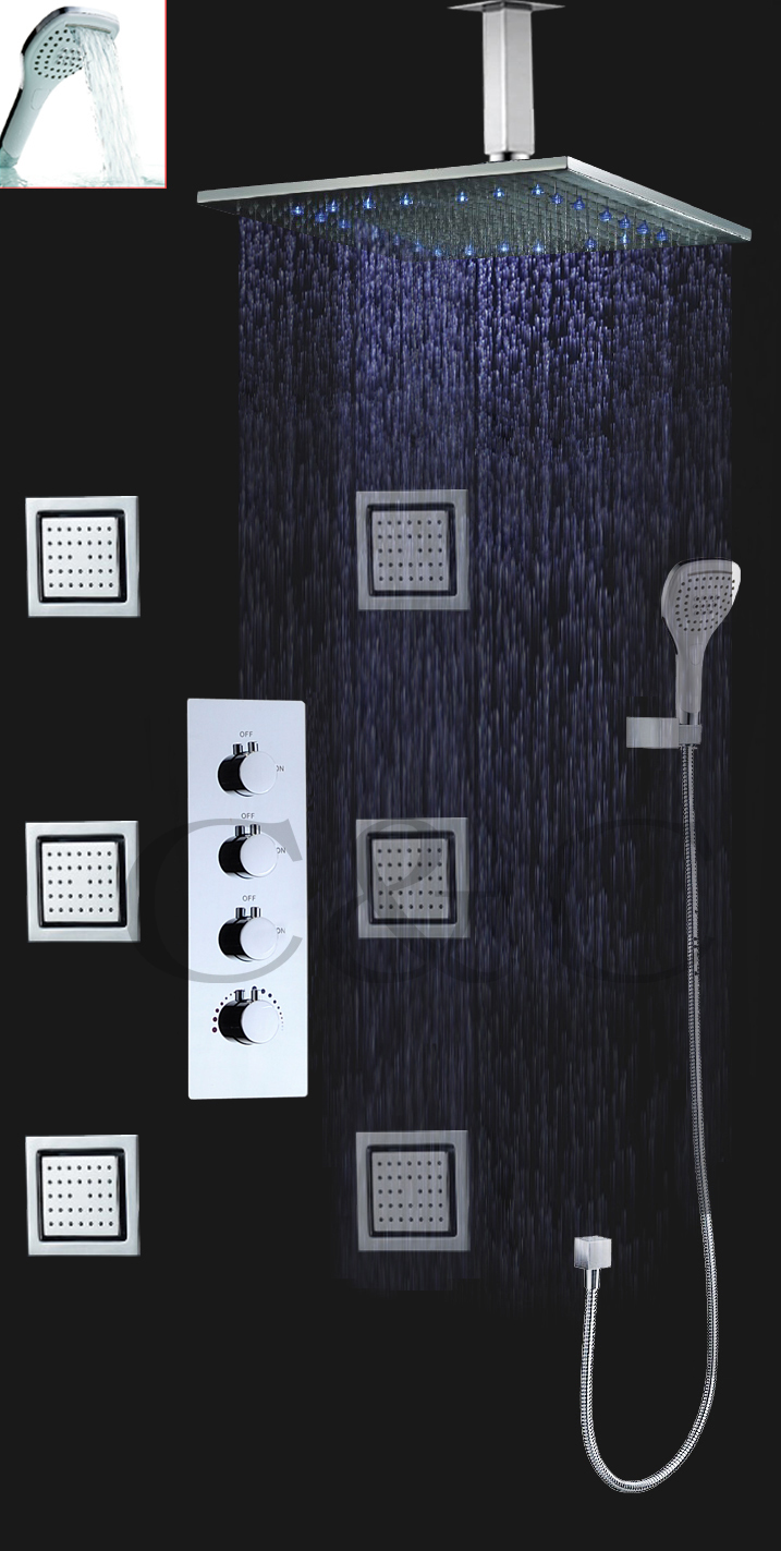 Us 505 52 29 Off 16 Inch Led Rainfall Shower Head 3 Water Functions Work Together Or Separately Large Water Flow Bathroom Shower Faucet Set In