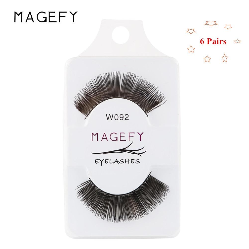 MAGEFY 6 Pairs/Box False Eyelashes Handmade Natural Long Thick False Eye Lashes Makeup Extension Lashes Synthetic Hair Cosmetics