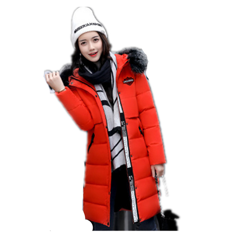 2017 Fashion Winter Parka Women   Cotton Overcoat Thick Warm Coat Hooded Fur collar Jacket Female thick cotton padded jacket fur collar hooded long section down cotton coat women winter fashion warm parka overcoat tt215