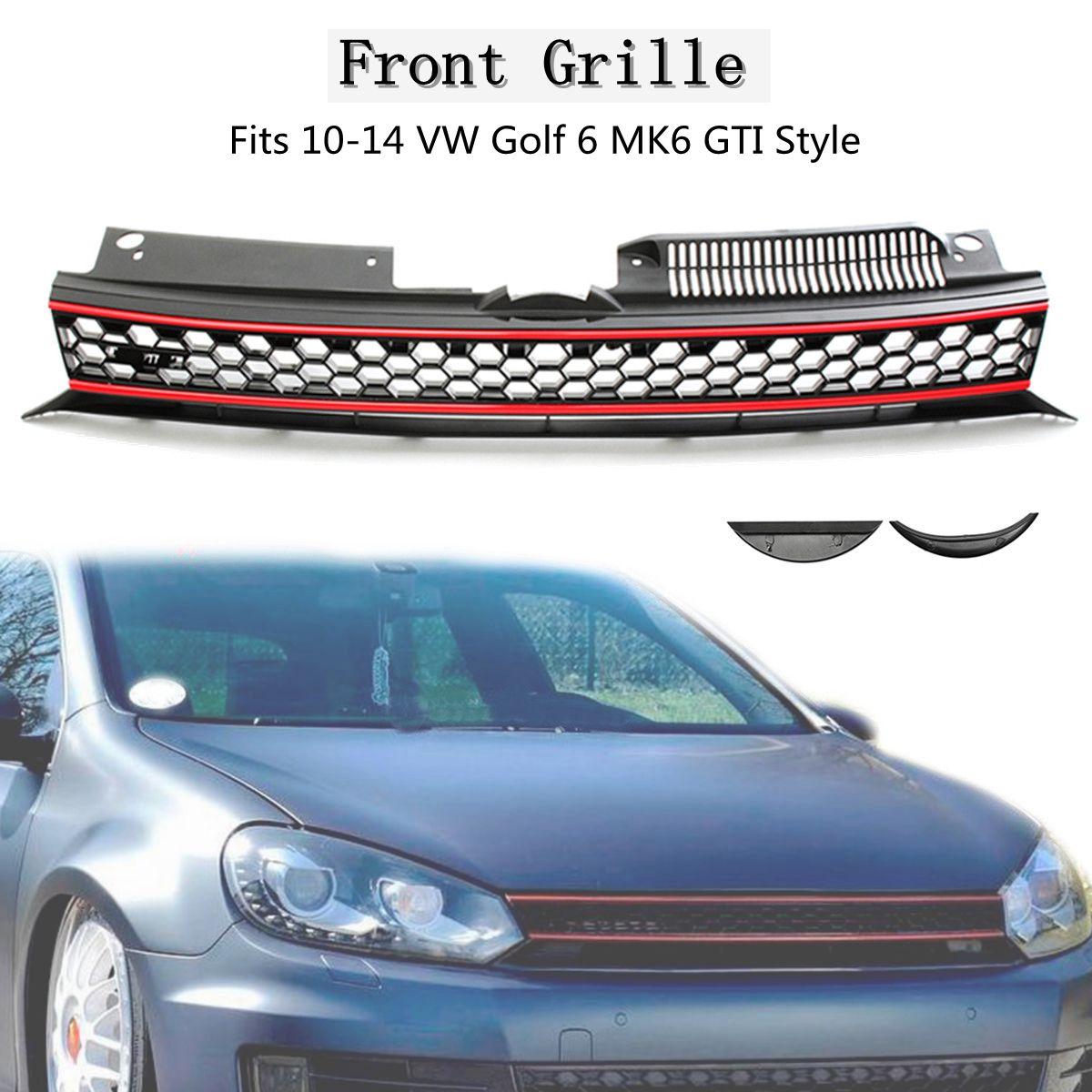 Car ABS Front High Bar Black Red Trim Mesh Grille For VW Golf 6 MK6 Hatchback  2010-2014 golf 6 mk6 gti racing grills abs car mesh grille for volkswagen vw jetta mk6 front bumper 11 13