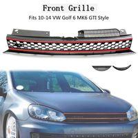 Car ABS Front High Bar Black Red Trim Mesh Grille For VW Golf 6 MK6 Hatchback