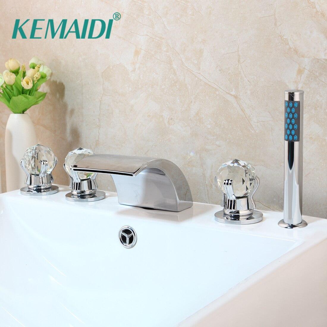 KEMAIDI 5 Pcs Set Torneira Deck Montado Cachoeira Bico Com Mão Pulverizador Banheiro Torneira Da Banheira Set Banho de Chuveiro