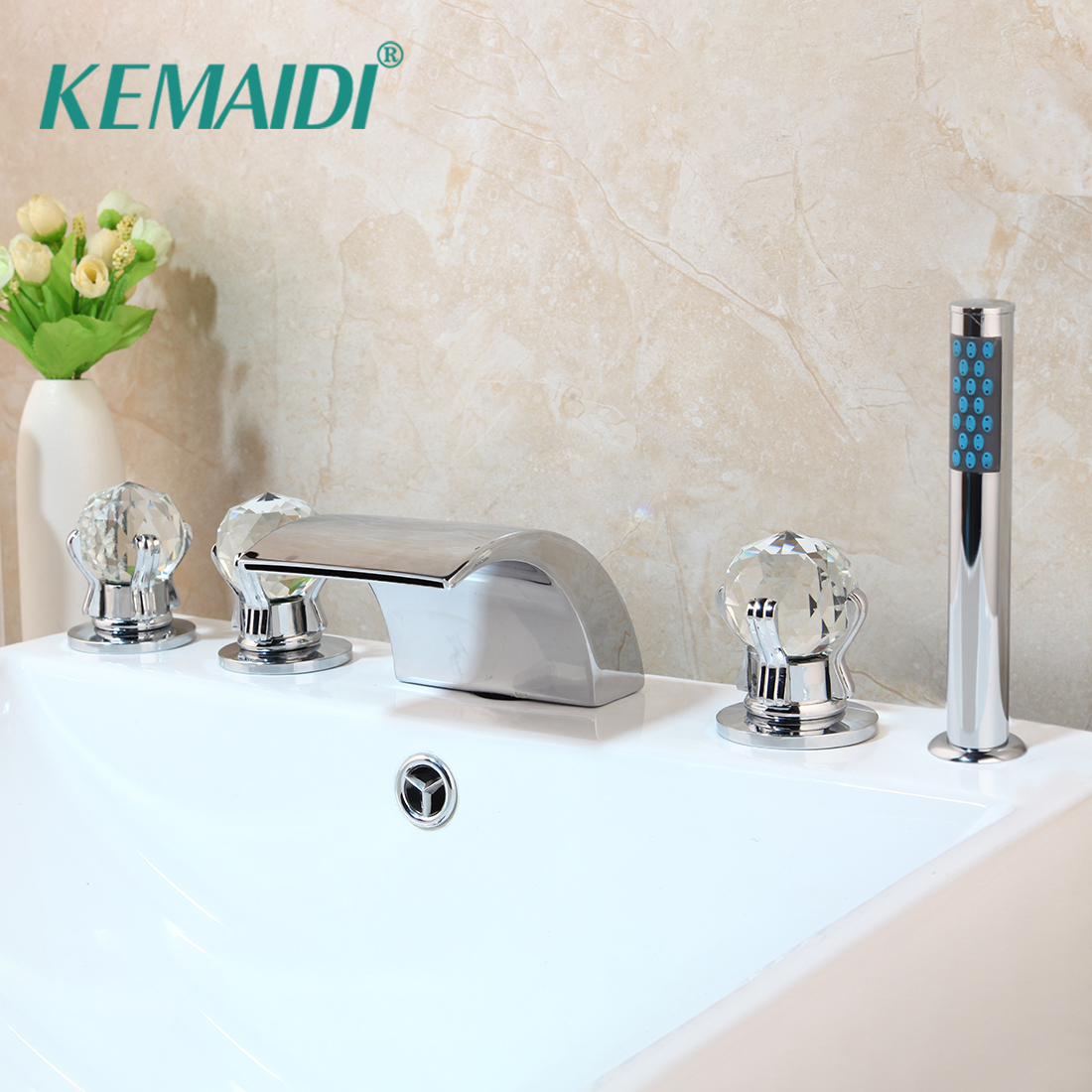 KEMAIDI Deck Mounted 5 Pcs Set Faucet Waterfall Spout With Hand Sprayer Bathroom Tub Faucet Bath Shower Set