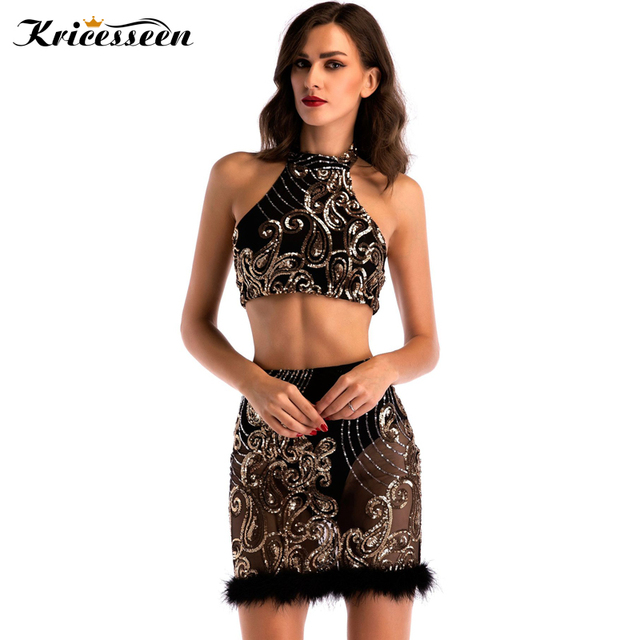 Kricesseen Vintage Black Feather Edged Sequin Dress 2019 Summer Sexy Off  The Shoulder Two Piece Bodycon Party Dresses Clubwear 608e5f8883f0