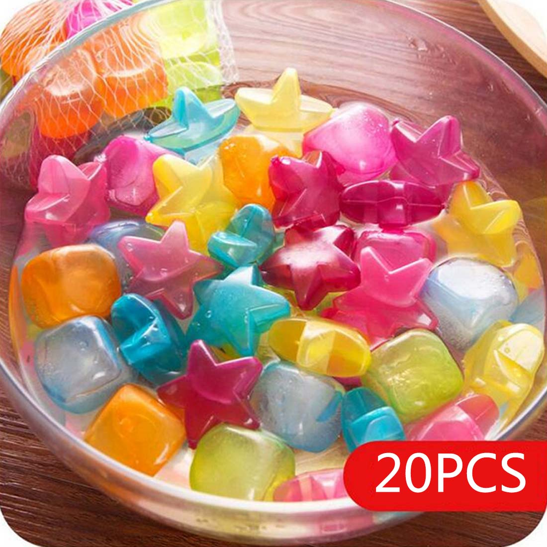 Kitchen Accessories Tool 20pcs Star Shaped Ice Cubes Plastic Reusable Multicolour Ice Cube Physical Cooling Tools Party Tool