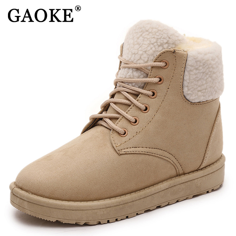 Classic Women Winter Boots Suede Ankle Snow Boots Female Warm Fur Plush Insole High Quality Botas Mujer Lace-Up 2017 new fashion women winter boots classic suede ankle snow boots female warm fur plush insole high quality botas mujer lace up