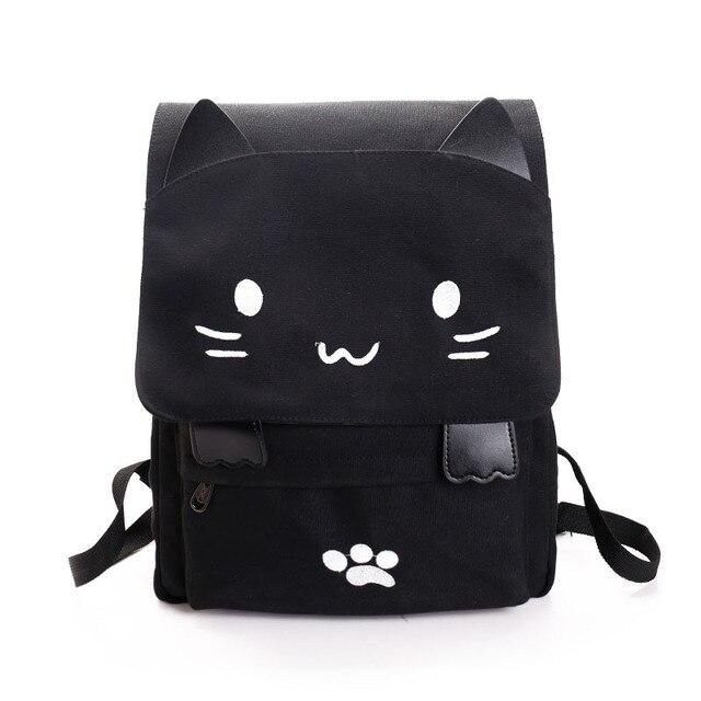 Симпатичные рюкзак женский Холст Большой Черный рюкзак школьный модный Книгу Мешок Вышивка Печати портфель школьный рюкзаки школьная сумка для девочек