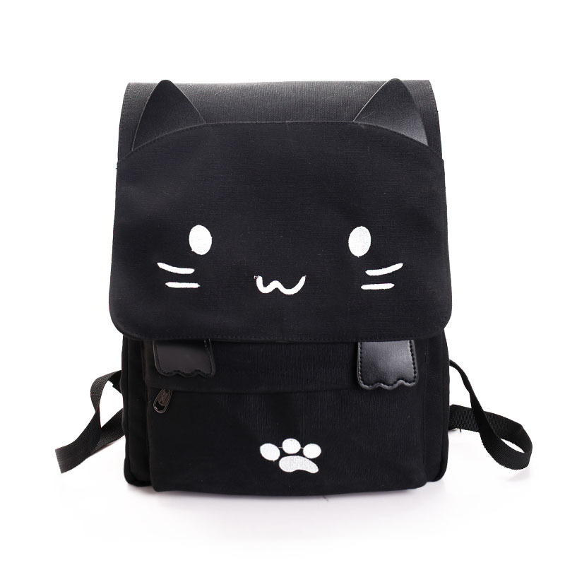 Cute Backpack Women Canvas Big Black School Bags for Teenagers Girls Book Bag Embroidery Printing Cat