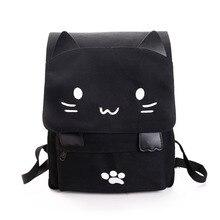 мода Симпатичные рюкзак женский Холст Большой Черный рюкзак школьная сумка модный Вышивка Печати портфель школьный для школы рюкзаки школьные сумки для подростков для девочек Милый кот рюкзак