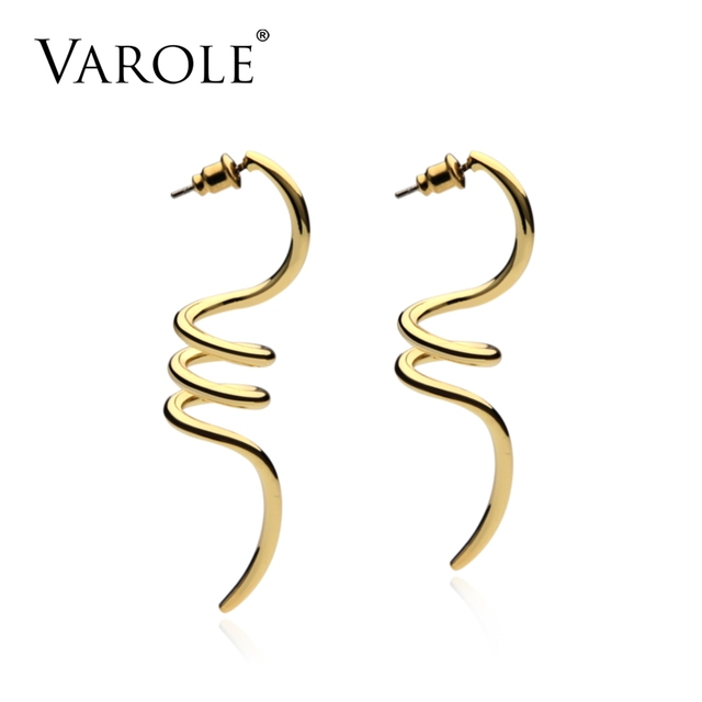 Varole Spiral Shapes Dangle Earrings Gold Color Earings 100 Copper Drop For Women Long
