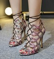 Free shipping 2017 European new sexy cross strap Roman sandals women shoes heel 11cm