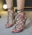 Free shipping 2017 European new sexy cross strap Roman sandals women shoes heel 11cm
