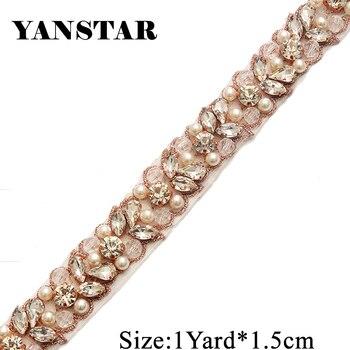 YANSTAR 10Yard  Wholesale Iron On Silver Bridal Belt Sewing Beaded Crystal Rhinestone Applique Trim For Wedding Dress Sash YS927