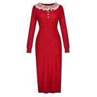 Sisjuly Women Vintage Sweater Dress Autumn Winter Red Plain O Neck Straight Elegant Dress Long Sleeve