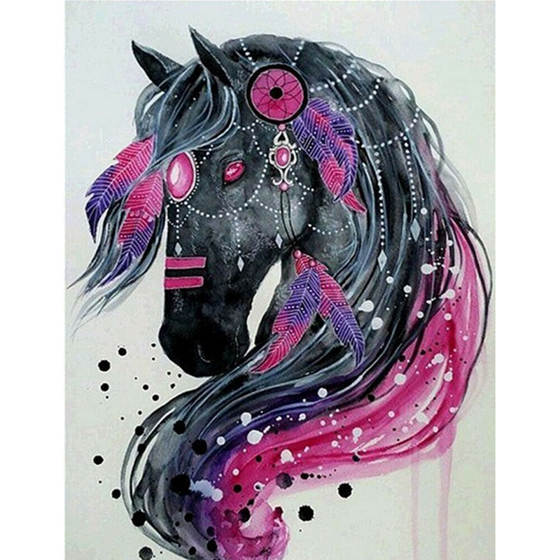 Dream Catcher Black Horse Diamond Painting 5D Diy Full Drill Arts Crafts 30 X 40Cm