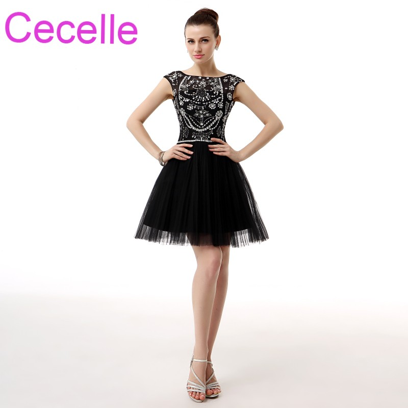 Black Tulle Short   Cocktail     Dresses   2019 Beadding Top Open Back Girls Informal Prom   Cocktail   Party Gowns Semi Formal Sale