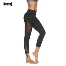 fcb950e95 Nessaj las mujeres de malla transparente negro pantalones cómodos Sexy  Leggins estribo polainas para mujeres Activewear