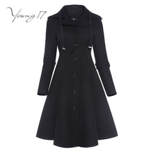 Youthful17 uneven black layer stand collar females topcoat classy single-breasted switch lengthy sleeve slim autumn winter months 2017 layer