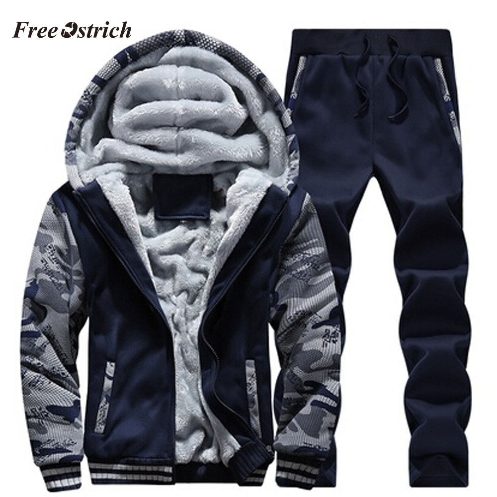 Free Ostrich Men's Knitting Sports Warm Fleece Thickened Sanitary Sweatshirt Suits Hoodies And Pants Clothing Suit For Men