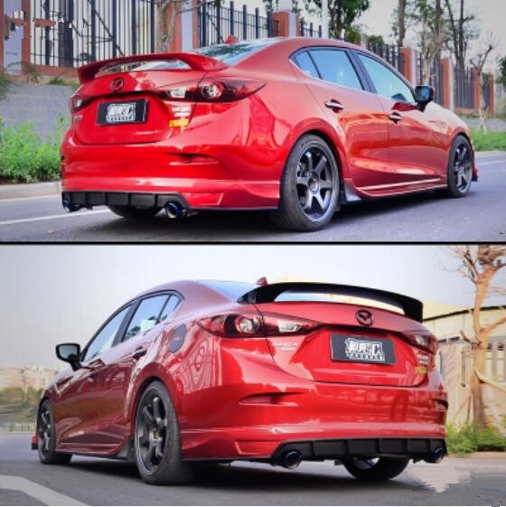 JIOYNG ABS PAINT CRA REAR WING TRUNK LIP <font><b>SPOILERS</b></font> FIT FOR 14-18 <font><b>MAZDA</b></font> <font><b>3</b></font> Axela Sedan 2014 2015 2016 2017 <font><b>2018</b></font> (M6 SPORT STYLE) image
