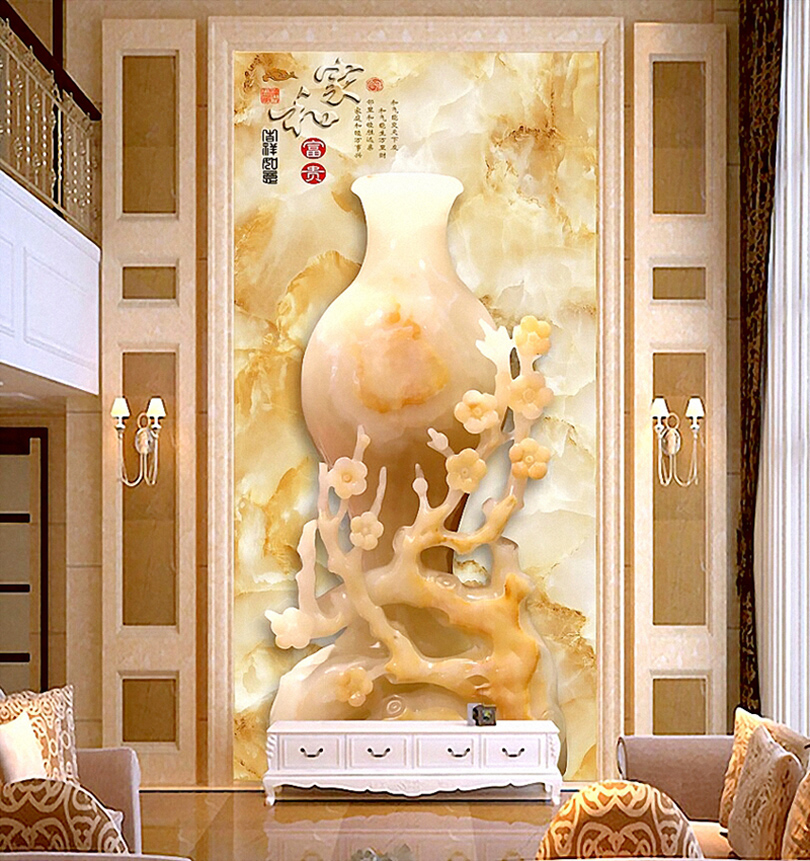 Free Shipping 3D stereoscopic wallpaper mural entrance hallway living room backdrop seamless wallpaper free shipping 3d stereo entrance hallway custom wallpaper vertical version european oil painting wallpaper mural