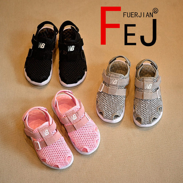 0338000defedb7 Kids Sandals 2017 FUERJIAN Summer New Soft Base Of Netting Cloth Boys Girls  Shoes Sandals Casual fashion Children Sandals
