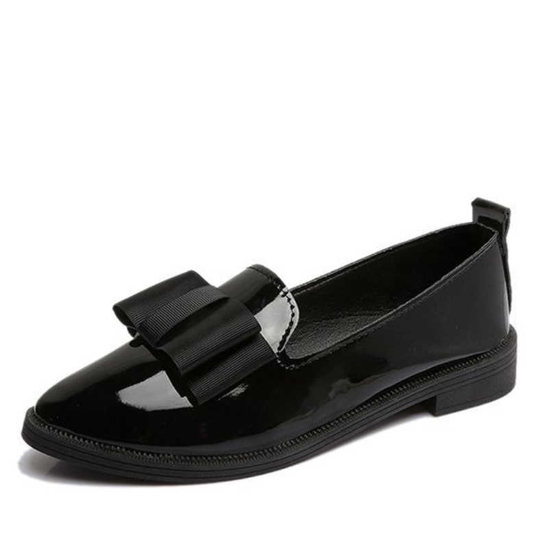 MCCKLE Sonbahar Flats Kadın Ayakkabı Papyon Loafer'lar Patent Deri Zarif Düşük Topuklu Ayakkabı Üzerinde Kayma Kadın Sivri Burun Kalın Topuk