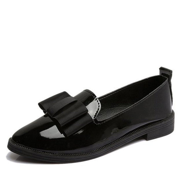 MCCKLE Spring Flats Women Shoes Bowtie Loafers Patent Leather Elegant Low Heels Slip On Footwear Female Pointed Toe Thick Heel