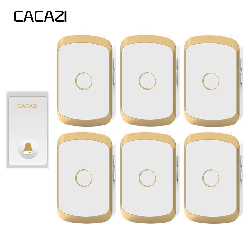 цена на CACAZI Self-powered Waterproof Wireless Doorbell No battery 1 Button 6 Receiver Cordless DoorBell EU Plug LED Light 36 Chime