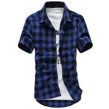 bbda2993ad4 Для мужчин рубашки в клетку Повседневное подростков короткий рукав отложной  воротник Slim Fit проверить рубашка Топы